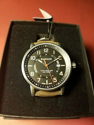 NwT Wenger Attitude Outdoor Black Dial Brown Leather Strap 01.0341.108 Men's
