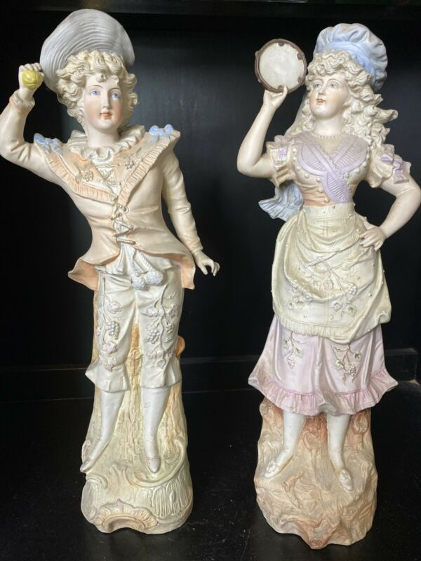 GERMAN BISQUE VICTORIAN COUPLE PAIR Lady Man Figurines Statue 16 1/4""
