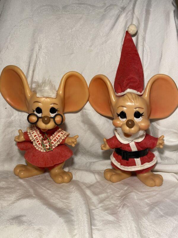 VINTAGE Santa & Mrs Claus Topo Gigio Roy Design 1970 Mouse Bank Christmas