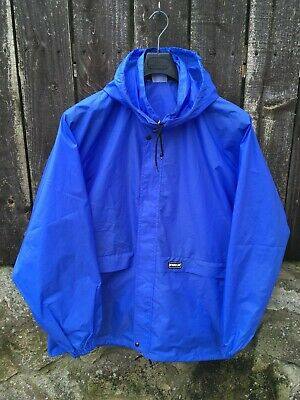 Vintage 80s K-Way Cagoule Pac A Mac XL Blue Jacket windbreaker