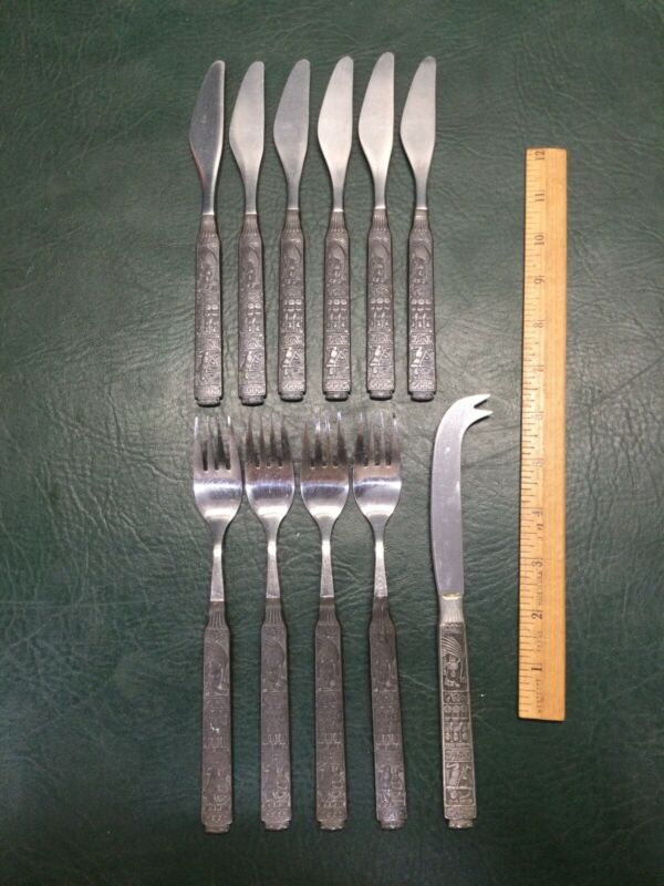 11 Pcs HEILAG OLAV Og Hans Mann Flatware H-S Pewter Steel Norway