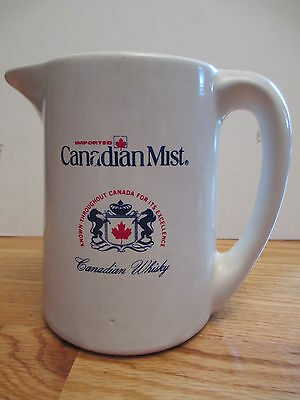 "Imported CANADIAN MIST ""Known Throughout CANADA"" WHISKEY 6"" Ceramic Pitcher Mug"