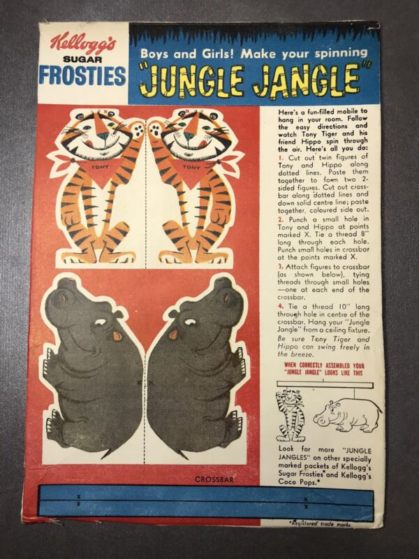 Vintage 1960's Kellogg's SUGAR FROSTIES Tony The Tiger And Hippo JUNGLE JANGLE