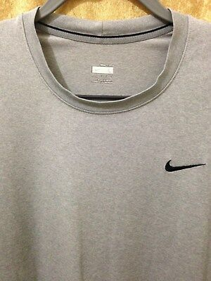 NIKE MENS FIT DRY CREW NECK ATHLETIC T-SHIRT GRAY HEATHER EMBROIDERED LOGO LARGE