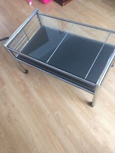Glass and leather coffee table