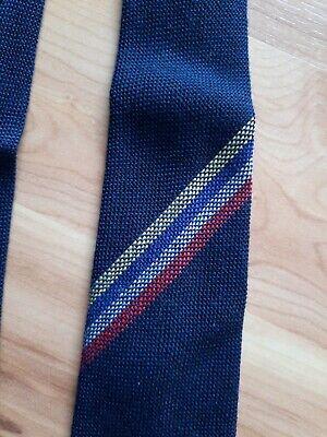 """1950s Men's Ties, Bow Ties – Vintage, Skinny, Knit Vintage Dark Blue 1950's Botany Mills Wool MexTex Neck Tie 49"""" x 3"""" Made in USA $24.95 AT vintagedancer.com"""