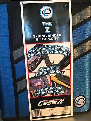 Case-it Z-binder Two-in-one Two 1.5-inch D-ring Zipper Binder In 1 Z-176 Blue
