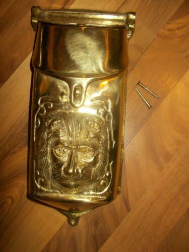 VINTAGE SOLID BRASS OUTDOOR LION HEAD LETTER MAILBOX HEAVY!