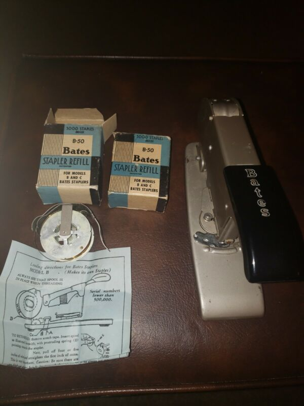 VINTAGE BATES MODEL C  WIRE FED STAPLER and Bates B-50 Refills
