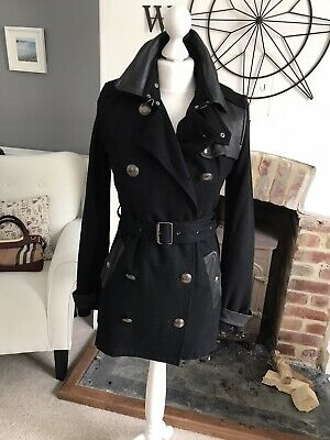 Burberry Brit Wool Leather Trench Coat MAC 6 8 10 Nova Check