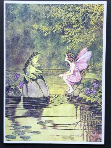 Blank Art Note Card FAIRY GIRL frog NOS Pleiades Press #170 pink dress violets