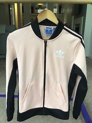 Adidas zip up jacket peach and black size uk 6