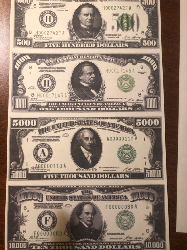 Copy Reproduction 1934 Silver Certificate Uncut US Currency Sheet Paper Money
