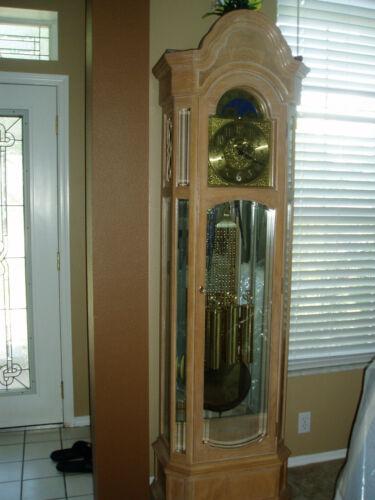 RIDGEWAY GRANDFATHER CLOCK- PENDULUM CHIME-RARE BLONDE OAK WOOD,BEVELED GLASS