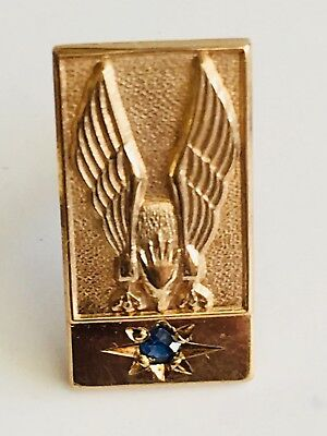 9ct Gold LAPEL PIN BIRD OF PREY UNUSUAL POSSIBLY AMERICAN