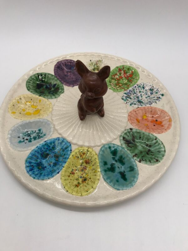 Vintage Chocolate Easter Bunny In Center Of Egg Holder 9 1/2 Inch Round Plate