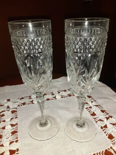 Cristal D'Arques Durand pair of champagne flutes, France