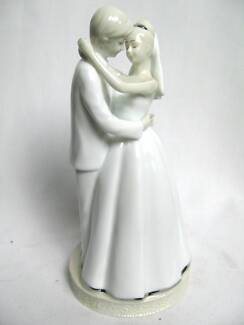 NEW Bride & Groom CAKE TOPPER by RUSS White Ceramic & Silver North Plympton West Torrens Area Preview
