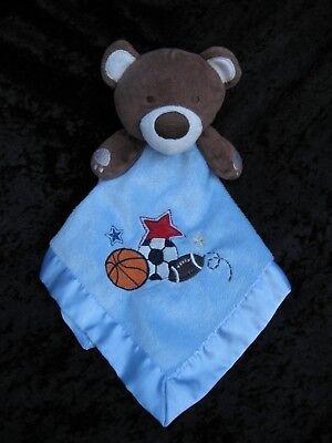 Circo Blue Brown Bear Sports Ball Lovey Security Blanket 14x14 Target