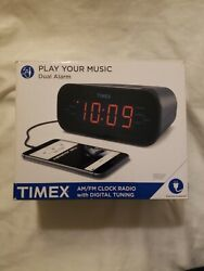 Timex AM/FM Dual Alarm Clock Radio 1.2-Inch Red Display and Line-In Jack T231GRY