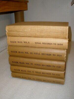 Vital Records Genealogy Salem MA to 1849 Birth Death Marriage,  6 volumes