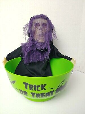 Animated Skeleton Talking Halloween Skull - Green Bowl