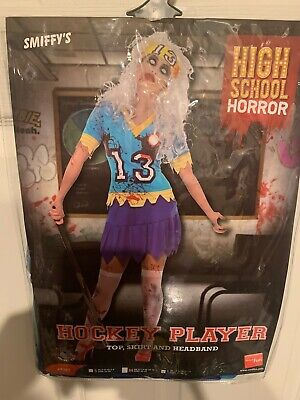 Hockey Player Costumes (New Smiffy's Zombie Hockey Player Costume Adult Size L 14-16 US Top Skirt)