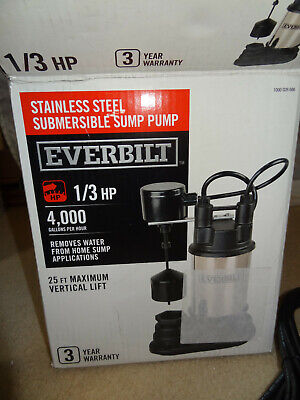 Everbilt SP03302VD Stainless Steel Submersible Sump Pump 1/3 HP,4,700 GPH remove 700 Gph Submersible Pump