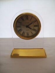 Danbury Clock Co. Quartz Alarm clock Brass & Lucite