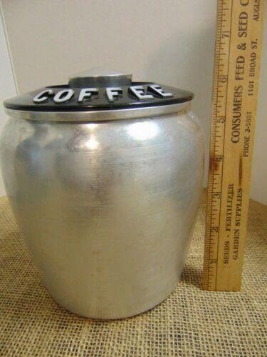 Kromex Spun Brushed Aluminum Coffee Metal Canister Kitchen Storage Vintage MCM