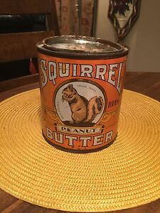 Antique Squirrel Peanut butter can