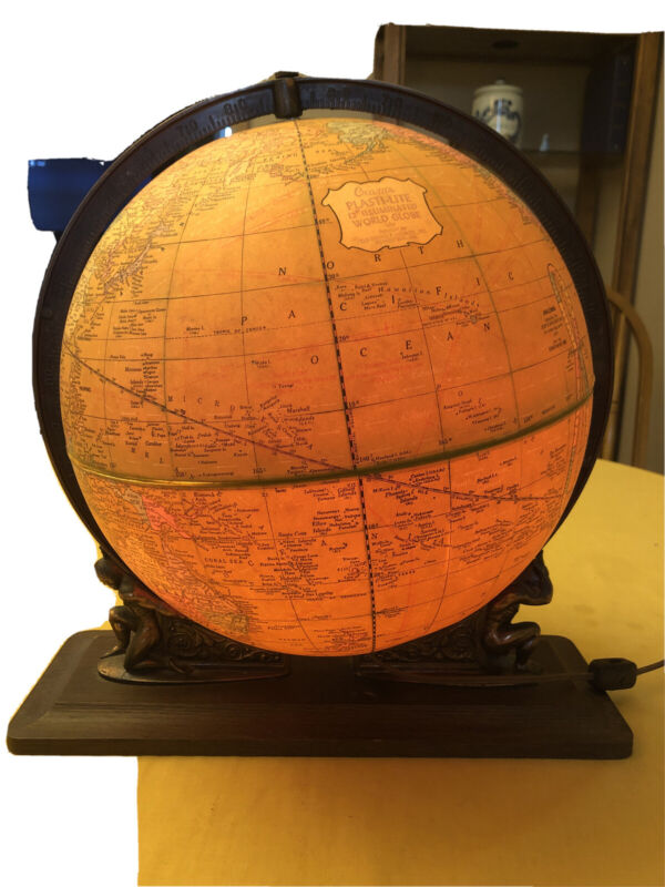 "Crams Plasti- lite 12"" Illuminated World Globe 1952"