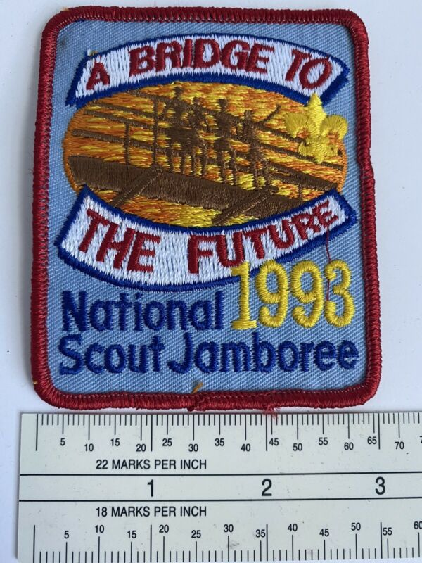 1993 National Scout Jamboree A Bridge to the Future Red Border Patch P1