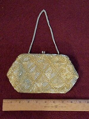 1940s Handbags and Purses History Vintage 1940s Hold Beaded clutch purse $30.00 AT vintagedancer.com
