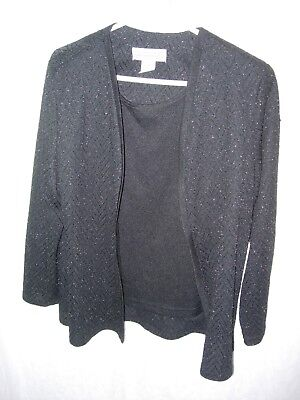 WOMENS BLACK SPARKLE MOTHER OF THE BRIDE OVER BLOUSE TANK TOP JACKET SIZE 16P 46