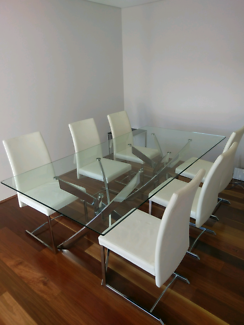 Domayne Glass dining table and chairs