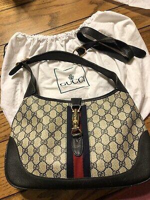 Gucci Jackie 1961 Vintage Hobo Bag Purse Crossbody Strap BLUE HTF Piston Pigskin