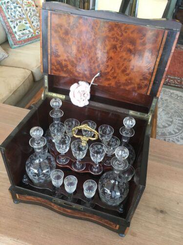Antique Original 17pc French Tantalus Crystal Decanter Liqueur Liquor Set W/ Key