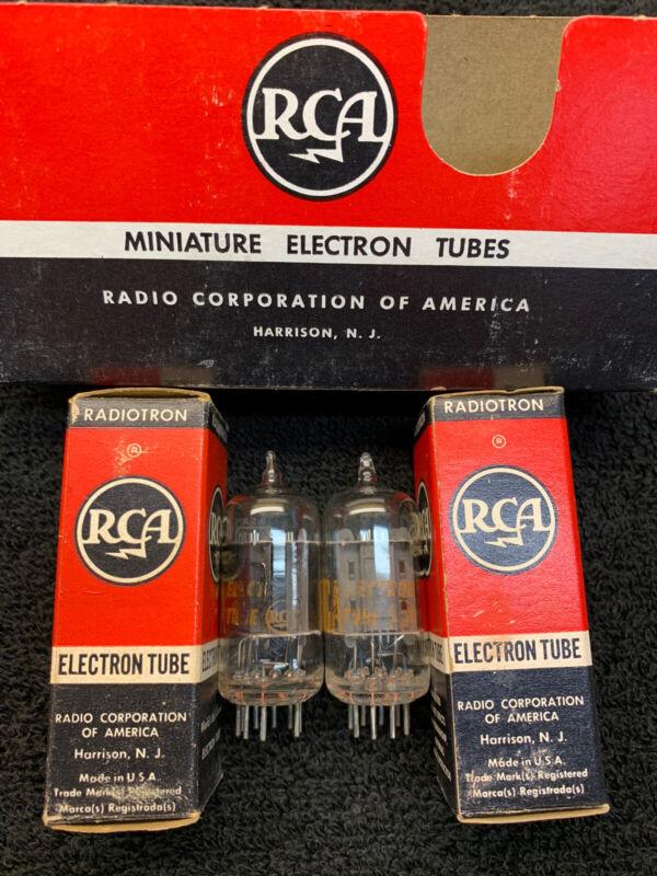 2 NOS NIB RCA 12AU7A Clear Top Tubes USA 1960