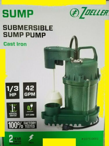 NEW Zoeller 1/3 HP Cast Iron Submersible 42GPM Sump Pump w/ 9