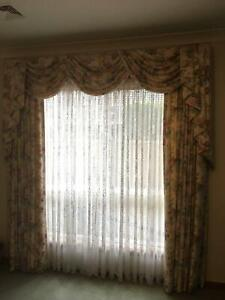 Curtains, pelmets and tracks: fully lined, professionally made.