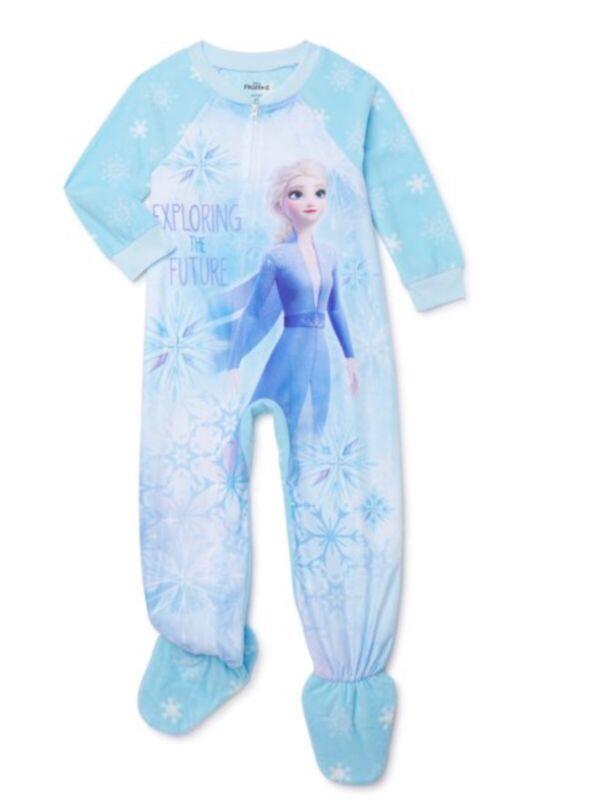 Disney Frozen 2 Elsa Girls Blue Footed Blanket Sleeper Pajamas Full Zip Size 3T