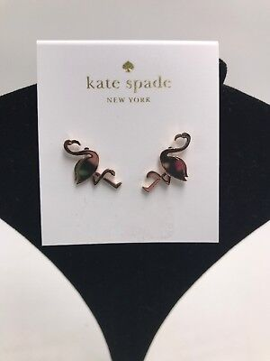 $48 KATE SPADE BY THE POOL ROSE GOLD FLAMINGO STUD EARRINGS 63D