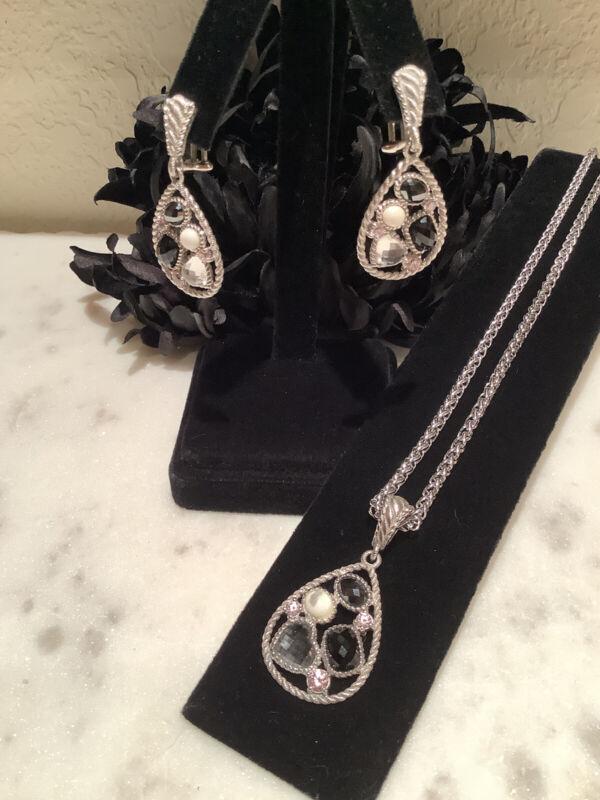 Judith Ripka 925 Sterling Silver Multi-Gem Teardrop Earrings & Matching Enhancer