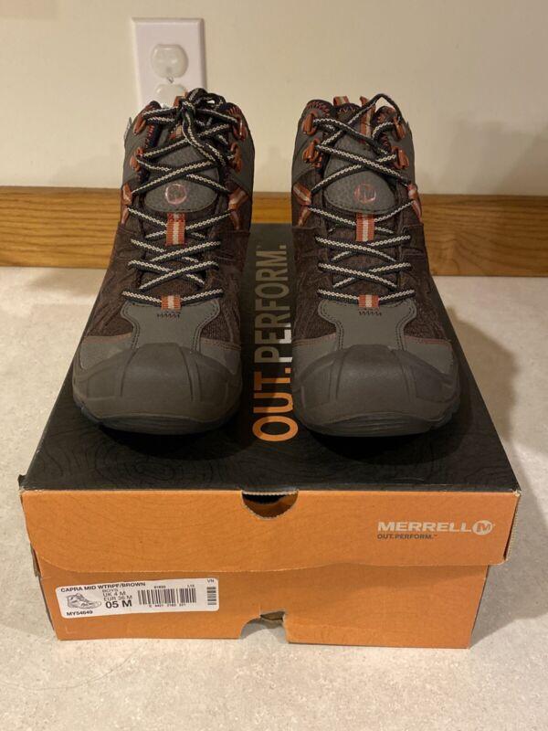 Merrell NWT Capra Mid Boys Size 5M Brown Waterproof Hiking Boots