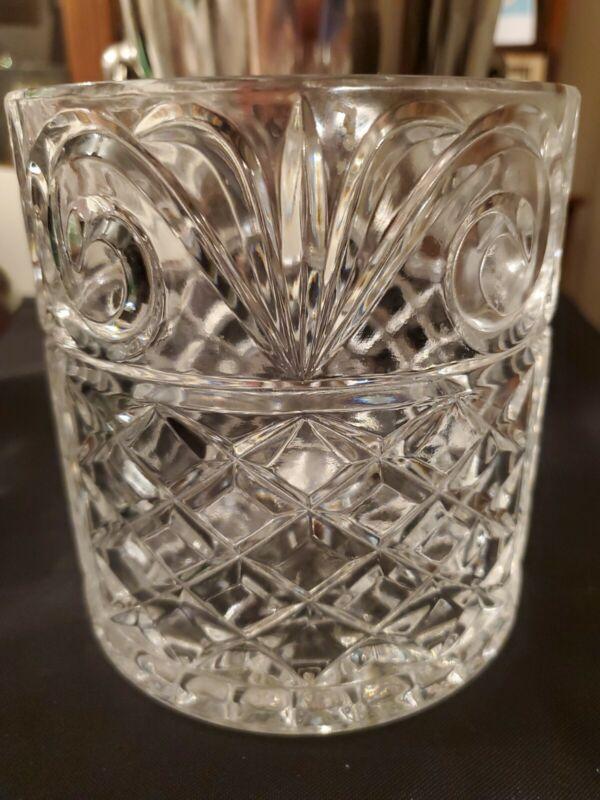 VINTAGE IRISH CRYSTAL GLASS ICE BUCKET WINE CHAMPAGNE COOLER DIAMOND SCROLL