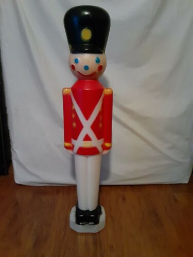 """Vintage 31"""" Boy Toy Soldier Blow Mold Light Figure Christmas"""