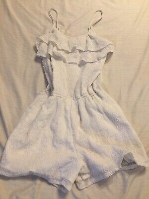 Abercrombie Kids Girls Size 9-10 Sleeveless White Lace-Trimmed Dress Skort Type