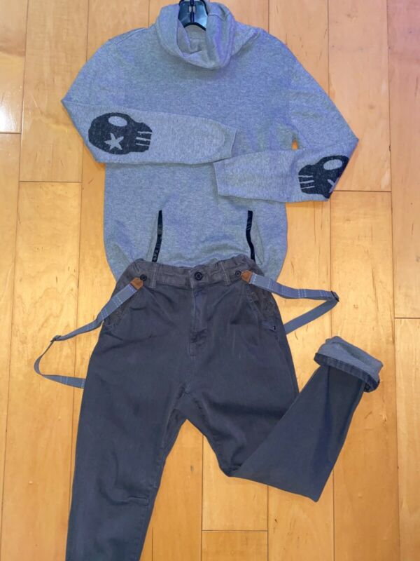 Zara Kids Boys Set Outfit Sweater with skull patches Suspender Pants 9-10