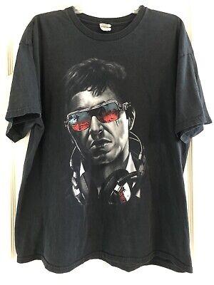 Vintage Scarface Black T-shirt Tony Montana Face Sunglasses Headphones XL